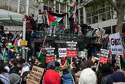 Tens of thousands of people attend a March for Palestine from Speaker's Corner to the Israeli embassy in solidarity with the Palestinian people on Nakba Day on 15th May 2021 in London, United Kingdom. The march, which was organised by Palestine Solidarity Campaign (PSC), CND, Friends of Al Aqsa, Muslim Association of Britain, Palestinian Forum in Britain and Stop The War Coalition, took place in protest against Israeli air raids on Gaza, the deployment of Israeli forces to the Al-Aqsa mosque during Ramadan and attempts to forcibly displace Palestinian families from the Sheikh Jarrah neighbourhood of East Jerusalem and speakers called for an end to Israeli support for and arms sales to Israel.