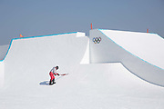 Reshaping the snowboard slopestyle course on the 8th February 2018 at Phoenix Snow Park for the Pyeongchang 2018 Winter Olympics in South Korea
