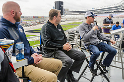 April 5, 2018 - Fort Worth, TX, U.S. - FORT WORTH, TX - APRIL 06: Monster Energy NASCAR Cup Series driver Kevin Harvick (4) and Texas Motor Speedway President Eddie Gossage answer questions about the new Busch Restart Bar in the front stretch before Monster Energy NASCAR Cup Series practice on April 6, 2018 at the Texas Motor Speedway in Fort Worth, Texas. (Photo by Matthew Pearce/Icon Sportswire) (Credit Image: © Matthew Pearce/Icon SMI via ZUMA Press)