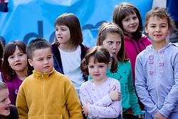 Children of OS Notranje Gorice when sponsor Zavarovalnica Triglav d.d. decided to rebuild children playground, on March 22, 2012, in Notranje Gorice, Slovenia. (Photo by Vid Ponikvar / Sportida.com)