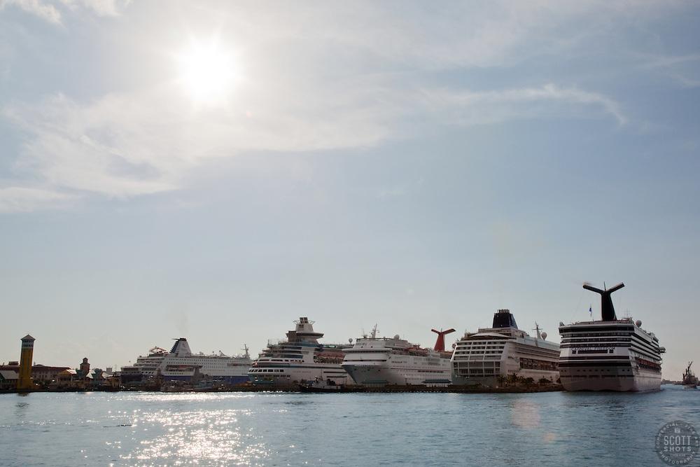 Cruise ships in Nassau, Bahamas.