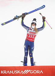 Winner Marta Bassino (ITA) celebrates during 2nd Run of Ladies' Giant Slalom at 57th Golden Fox event at Audi FIS Ski World Cup 2020/21, on January 17, 2021 in Podkoren, Kranjska Gora, Slovenia. Photo by Vid Ponikvar / Sportida