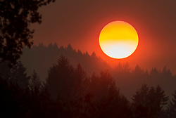 August 28, 2017 - Roseburg, OREGON, U.S - Smoke from nearby wildfires colors the setting sun orange and red as seen from near Roseburg in southwestern Oregon. The National Weather Service has issued an Air Quality Alert for most of western Oregon due to wildfires burning in the region. Air quality levels are predicted to fluctuate and could be at unhealthy levels. (Credit Image: © Robin Loznak via ZUMA Wire)