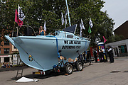 A large blue boat used by Extinction Rebellion at The Cut, Waterloo, during a week of climate change actions across the country on the 17th July 2019 in London in the United Kingdom. Extinction Rebellion are a socio-political movement using civil disobedience and nonviolent resistance to protest against climate breakdown, biodiversity loss, and the risk of social and ecological collapse.
