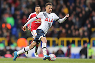 Dele Alli of Tottenham Hotspur in action. Barclays Premier league match, Tottenham Hotspur v Manchester Utd at White Hart Lane in London on Sunday 10th April 2016.<br /> pic by John Patrick Fletcher, Andrew Orchard sports photography.