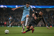Emilio Izaguirre (Celtic) tackles Jesús Navas (Manchester City) during the Champions League match between Manchester City and Celtic at the Etihad Stadium, Manchester, England on 6 December 2016. Photo by Mark P Doherty.