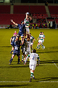 Newcastle Falcons flanker Rob Farrar catches a line out  during a Gallagher Premiership Round 12 Rugby Union match, Friday, Mar 05, 2021, in Eccles, United Kingdom. (Steve Flynn/Image of Sport)