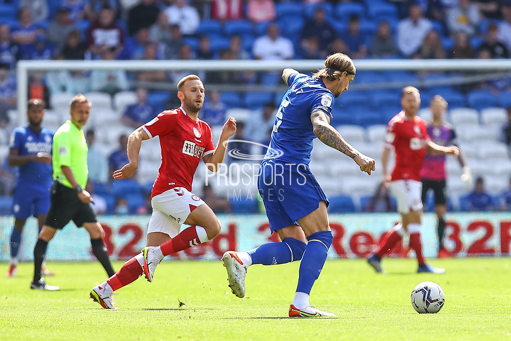 Cardiff City defender Aden Flint (5) in action during the EFL Sky Bet Championship match between Cardiff City and Bristol City at the Cardiff City Stadium, Cardiff, Wales on 28 August 2021.