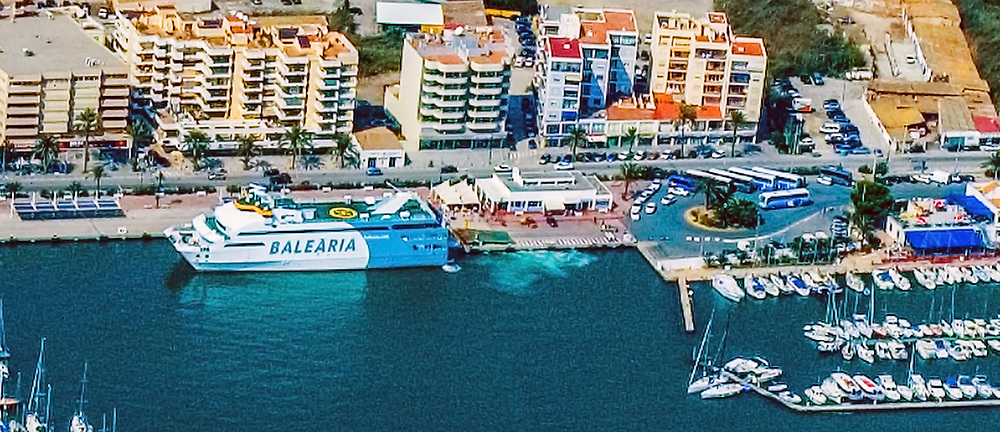 Aerial Drone view of Balearia Ferry at the Port of Ibiza Spain