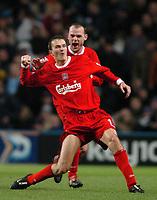 Photo: Richard Lane.<br /> Manchester City v Liverpool. Barclaycard Premiership.<br /> 28/12/2003.<br /> Dietmar Hamann celebrates with Danny Murphy.