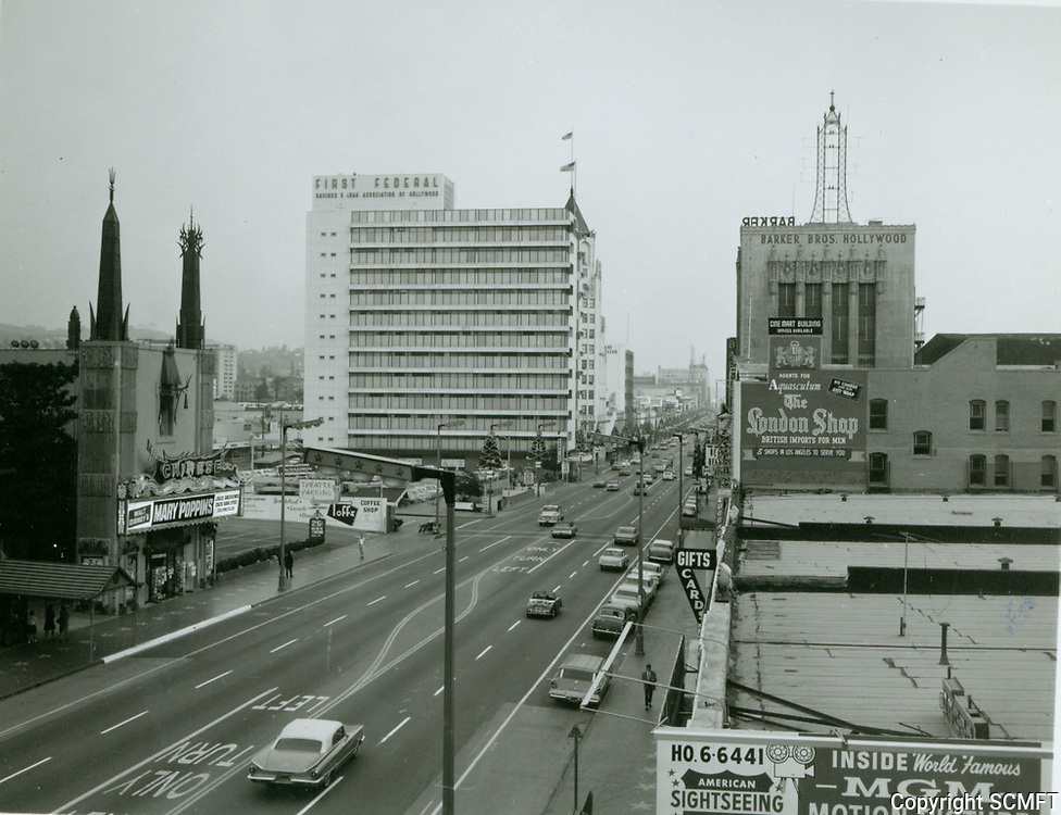 1964 Looking east on Hollywood Blvd. from Orange Dr.