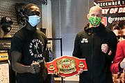 """Muay Thai / K1: Day of Destruction XIV, Wiegen, Hamburg, 11.12.2020<br /> Gerardo """"Coco"""" Atti (GER, l.) und Kim Jensen (DEN)<br /> © Torsten Helmke"""
