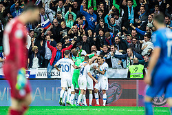 Players of Slovenian national team celebrating winning gaol with fans during the 2020 UEFA European Championships group G qualifying match between Slovenia and Israel at SRC Stozice on September 9, 2019 in Ljubljana, Slovenia. Photo by Grega Valancic / Sportida