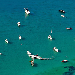 Aerial view of Boats off the shores of the Spanish island of Formentera