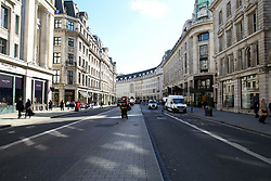© Licensed to London News Pictures. 16/03/2020. London, UK. Deserted Regents Street as shoppers are avoiding crowded areas amid an increased number of Coronavirus (COVID-19) cases in the UK. 35 coronavirus victims have died and 1,372 have tested positive for the virus in the UK as of 9am on Sunday, 15 March 2020. Photo credit: Dinendra Haria/LNP