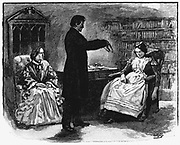 Male hypnotist putting young woman into an hypnotic trance. Wood engraving, 1891