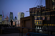 Golden Hinde and the City of London skyline, England, UK.