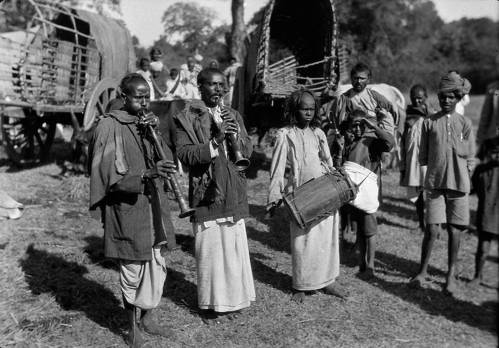 Temple Musicians at Village Festival, Antharasanthe, Karnataka, India, 1929