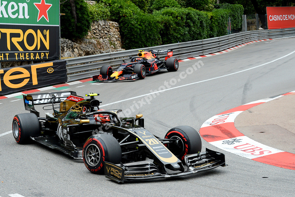 Kevin Magnussen (Haas-Ferrari) leading Pierre Gasly (Red Bull-Honda) during the 2019 Monaco Grand Prix. Photo: Grand Prix Photo