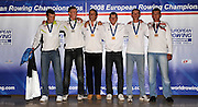 Marathon, GREECE, Men's double sculls presentation  for the 2008  FISA European Rowing Championships, at the Club Med. 20/09/2008  [Mandatory Credit Peter Spurrier/ Intersport Images] , Rowing Course; Lake Schinias Olympic Rowing Course. GREECE