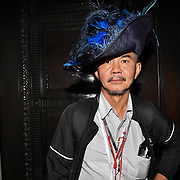 See the hat man from 'Picture Capital' modelling for the Hats Designer Carollee Emery of Brazen Canary photoshoot at Fashion Scout - SS19 - London Fashion Week - Day 2, London, UK. 15 September 2018.
