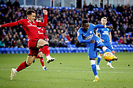 Peterborough United midfielder Siriki Dembele (10) with a shot during the EFL Sky Bet League 1 match between Peterborough United and Walsall at London Road, Peterborough, England on 22 December 2018.
