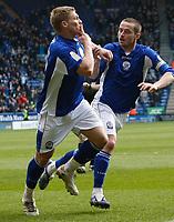 Photo: Steve Bond/Richard Lane Photography. Leicester City v Cardiff City. Coca Cola Championship. 13/03/2010. Martyn Waghorn celebrates