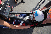 Aniek Rooderkerken in de VeloX 7 tijdens de zesde en laatste racedag. Het Human Power Team Delft en Amsterdam, dat bestaat uit studenten van de TU Delft en de VU Amsterdam, is in Amerika om tijdens de World Human Powered Speed Challenge in Nevada een poging te doen het wereldrecord snelfietsen voor vrouwen te verbreken met de VeloX 7, een gestroomlijnde ligfiets. Het record is met 121,81 km/h sinds 2010 in handen van de Francaise Barbara Buatois. De Canadees Todd Reichert is de snelste man met 144,17 km/h sinds 2016.<br /> <br /> With the VeloX 7, a special recumbent bike, the Human Power Team Delft and Amsterdam, consisting of students of the TU Delft and the VU Amsterdam, wants to set a new woman's world record cycling in September at the World Human Powered Speed Challenge in Nevada. The current speed record is 121,81 km/h, set in 2010 by Barbara Buatois. The fastest man is Todd Reichert with 144,17 km/h.
