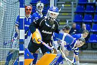 ROTTERDAM - Keeper Jan de Wijkerslooth van kampong tijdens de  finale zaalhockey om het Nederlands kampioenschap tussen de  mannen van Amsterdam en Kampong. Kampong wint met 3-2 het Kampioenschap. ANP KOEN SUYK