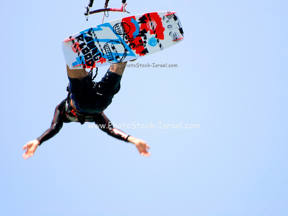 Kite surfing jump as seen from under the board
