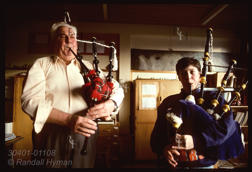 Jim Anderson, Blackwatcher who played at JFK's funeral, teaches teenage boy bagpipes; Buckhaven Scotland