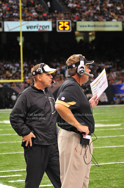 """File-Greg Williams, Defensive Coordinator for the New Orleans Saintshas been suspended indefiently from the NFL because of his """"bounty system"""" he had in place while coaching for the Saints during ht e2009,2010 & 2011 NFL seasons. Coach Sean Payton was suspended for one year and General manager Mickey Loomis was suspended for 8 games for thier roles in the """"Bounty scandal"""". File Photo of Defensive coach Greg Willams letting his defensive line know what to do during the Saints pre season game against the San Diego Chargers Friday Aug 27,2010. The San Diego charges cut Drew Brees a few years ago, allowing him to be picked uop by the Saints as a free agent. The Saints won 36-21 at half time.Photo© Suzi Altman"""