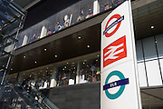 London transport logos on pillar at Westfield City shopping centre in Stratford, home of the 2012 Olympics.