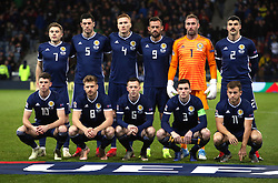 Scotland team group during the UEFA Nations League, Group C1 match at Hampden Park, Glasgow. PRESS ASSOCIATION Photo. Picture date: Tuesday November 20, 2018. See PA story SOCCER Scotland. Photo credit should read: Jane Barlow/PA Wire. RESTRICTIONS: Use subject to restrictions. Editorial use only. Commercial use only with prior written consent of the Scottish FA.