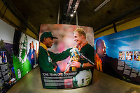 1995 Rugby World Cup game won by South Africa with President Nelson Mandela attending. This was the first Rugby World Cup in which South Africa was allowed to participate, after apartheid ended. Apartheid Museum, Johannesburg, South Africa.