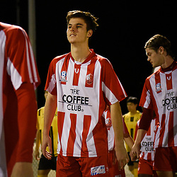 BRISBANE, AUSTRALIA - APRIL 13: Michael Morrow of Olympic FC walks out during the NPL Queensland Senior Men's Round 4 match between Olympic FC and Moreton Bay Jets at Goodwin Park on April 13, 2017 in Brisbane, Australia. (Photo by Patrick Kearney/Olympic FC)