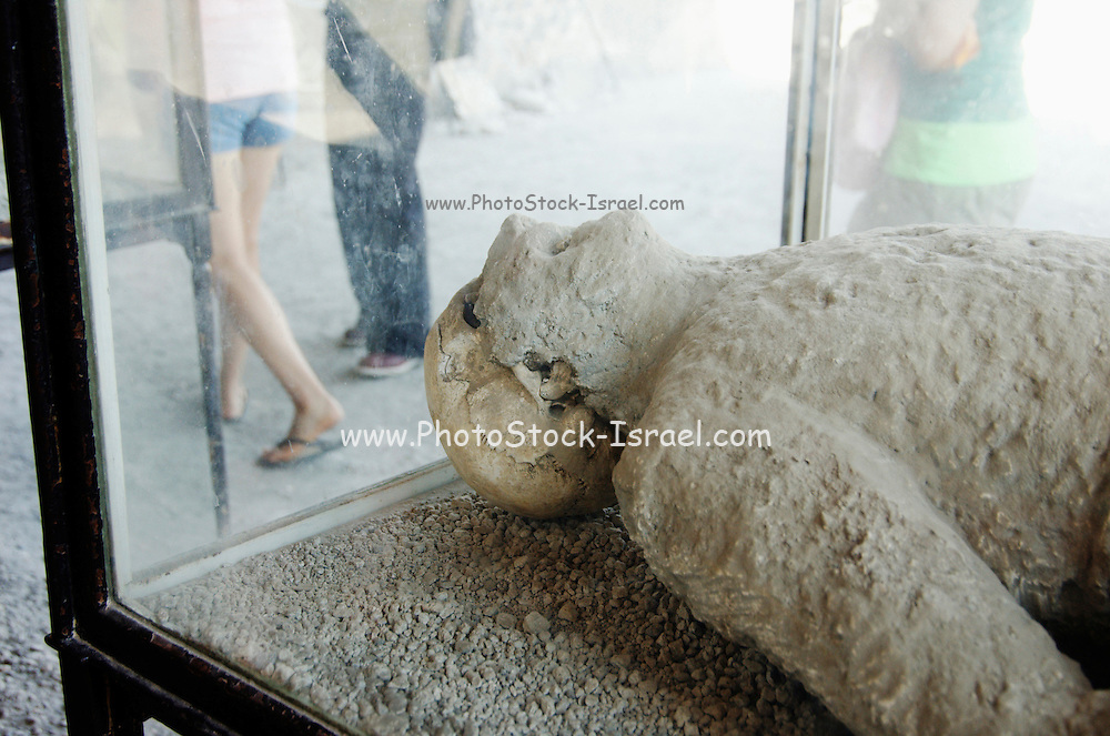 Plaster cast of victims in a show case at Pompeii, Campania, Italy under the Vesuvius volcano, July 2006