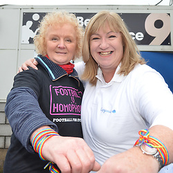 TELFORD COPYRIGHT MIKE SHERIDAN Lou Roberts(Learning Business Support Partner, Cap Gemini) and Ann Broadhurst (Business Support Officer, Telford and Wrekin Council) at the LGBTQ+ event organised by the club during the Vanarama National League Conference North fixture between AFC Telford United and Spennymoor Town on Saturday, November 16, 2019.<br /> <br /> Picture credit: Mike Sheridan/Ultrapress<br /> <br /> MS201920-030