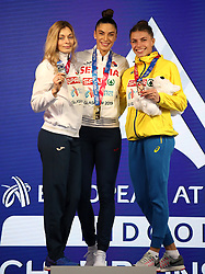 Serbia's Ivana Spanovic (centre), Belarus' Nastassia Mironchyk-Ivanova (left), and Ukraine's Maryna Bekh-Romanchuk celebrate with their medals after the Women's Long Jump during day three of the European Indoor Athletics Championships at the Emirates Arena, Glasgow.