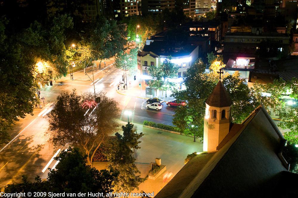 View from hotel La Fayette at the Avenue 11 de Septiembre, Providencia area, Santiago, Chile