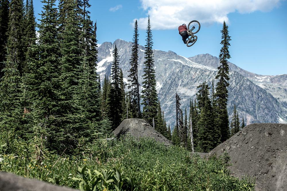 Brandon Semenuk performs on his mountain bike at Retallack Lodge, near Nelson, BC Canada on July 31st, 2013.