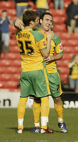 Photo: Aidan Ellis.<br /> Barnsley v Norwich City. Coca Cola Championship. 03/03/2007.<br /> Norwich's  Lee Croft celebrates the second goal with third goAL SCORER Chris Martin