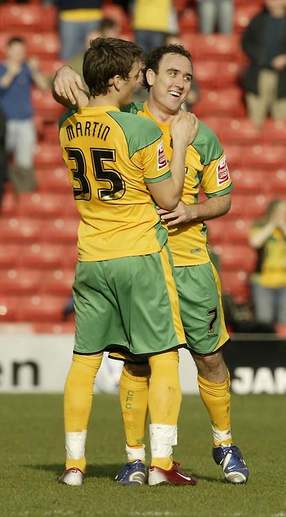 Photo: Aidan Ellis.<br /> Barnsley v Norwich City. Coca Cola Championship. 03/03/2007.<br /> Norwich's  Lee Croft celebrates the second goal with third goAL SCORER Chris Martin