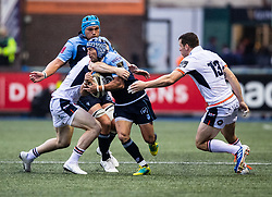 Matthew Morgan of Cardiff Blues is tackled by George Taylor of Edinburgh Rugby<br /> <br /> Photographer Simon King/Replay Images<br /> <br /> Guinness PRO14 Round 2 - Cardiff Blues v Edinburgh - Saturday 5th October 2019 -Cardiff Arms Park - Cardiff<br /> <br /> World Copyright © Replay Images . All rights reserved. info@replayimages.co.uk - http://replayimages.co.uk