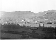 """D&RGW facilties and downtown Durango from above the smelter.<br /> D&RGW  Durango, CO  ca. 1935<br /> In book """"Durango: Always a Railroad Town (2nd ed.)"""" page 39"""
