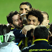 Fenerbahce's Gokhan Gonul (L) celebrate his goal with team mate during their Turkish SuperLeague Derby match Trabzonspor between Fenerbahce at the Avni Aker Stadium at Trabzon Turkey on Sunday, 17 February 2013. Photo by TURKPIX