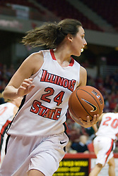20 November 2010: Emily Hanley during an NCAA Womens basketball game between the Southern Illinois-Edwardsville Cougars and the Illinois State Redbirds at Redbird Arena in Normal Illinois.