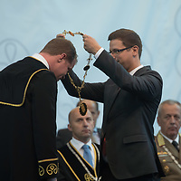Dr. Andras Koltay gets appionted as the new rector during the year opening ceremony at the National Public Service University in Budapest, Hungary on Sept. 7, 2018. ATTILA VOLGYI