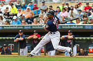 Minnesota Twins right fielder Ben Revere bats against the Milwaukee Brewers at Target Field in Minneapolis, Minnesota on June 17, 2012.  The Twins defeated the Brewers 5 to 4 in 15 innings.  The game was the longest in Target Field history.  © 2012 Ben Krause