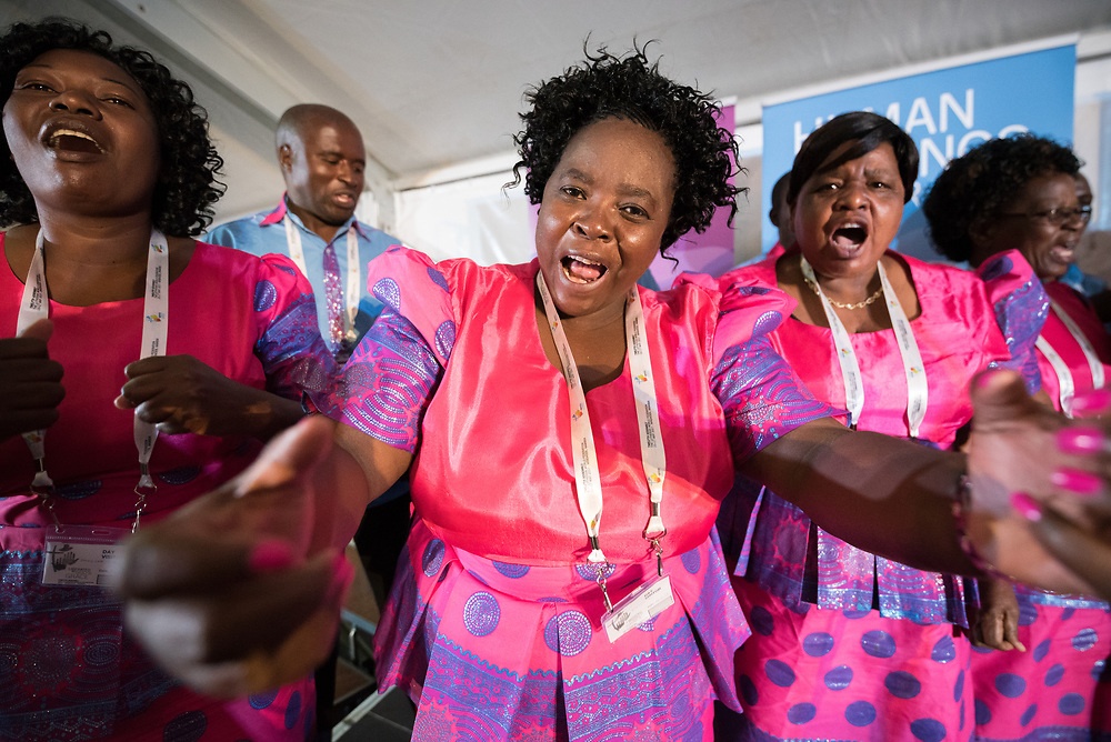 """15 May 2017, Windhoek, Namibia: Namibian choirs give life to evening prayers at the Lutheran World Federation's Twelfth Assembly. The Twelfth Assembly of the Lutheran World Federation gathers in Windhoek, Namibia, on 10-16 May 2017, under the theme """"Liberated by God's Grace"""", bringing together some 800 delegates and participants from 145 member churches in 98 countries."""